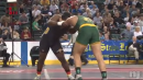 Jermaine Eluemunor of Morris Knolls defeats Beniah Harrigan of Piscataway in 4OT, 285lbs State Tournament semis