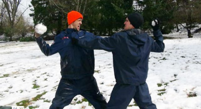 Olympic Snow Fight in Eugene - Funniest Athlete, Best of 2012