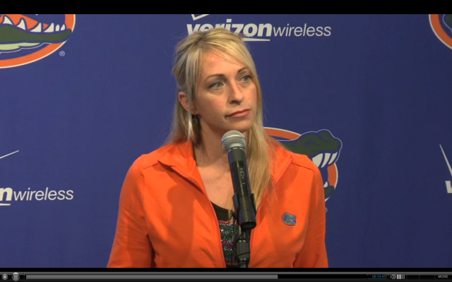 Florida Head Coach Rhonda Faehn addresses the Gator media
