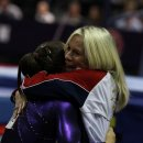 Kathryn Geddert hugs Jordyn Wieber at 2012 U.S. Olympic Trials