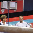Martha Karolyi chats with Valeri Liukin at 2012 Olympic Trials