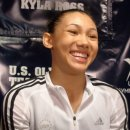 Kyla Ross in the mixed zone