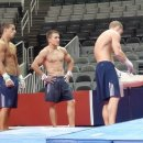 Sooner gymnasts at Olympic Trials podium training  