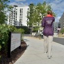 Games Maker walks through the London 2012 Athletes Village  Credit  LOCOG