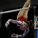 Kyla Ross competing bars at the 2012 Pac Rim Championships